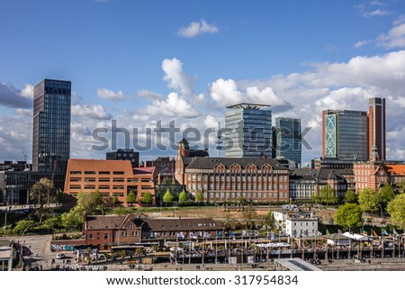 Hamburg, Germany. Modern buildings cityscape view