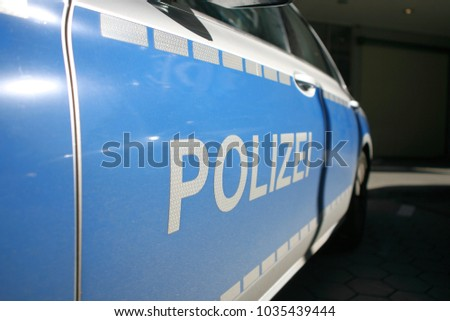 Hamburg, Germany; October 12 2017, German Mercedes police car standing on a road
