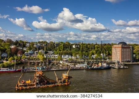 Hamburg, Germany, seafront city view - stock photo