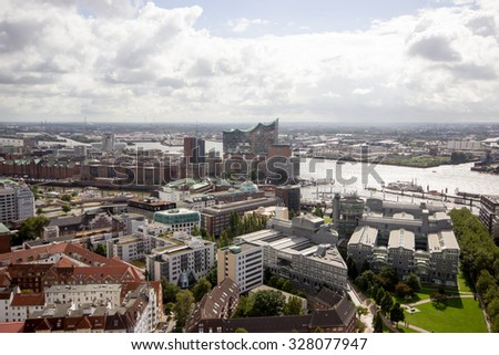 HAMBURG - GERMANY, 21 SEPTEMBER 2015: Panoramic view over Hamburg city from the St. Michaelis Church tower