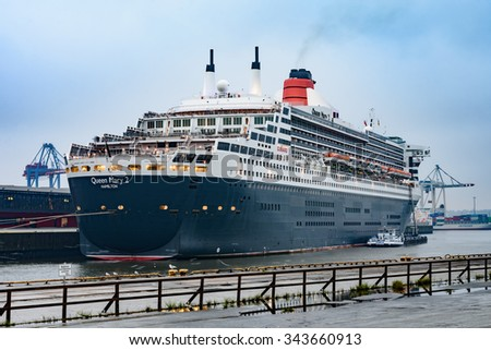 Hamburg, Germany - September 13, 2015: Queen Mary 2 in the port Steinwerder (Hamburg, Germany) during the Cruise Days 2015