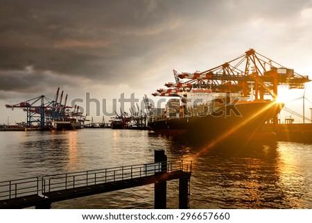 Hamburg Harbor - stock photo