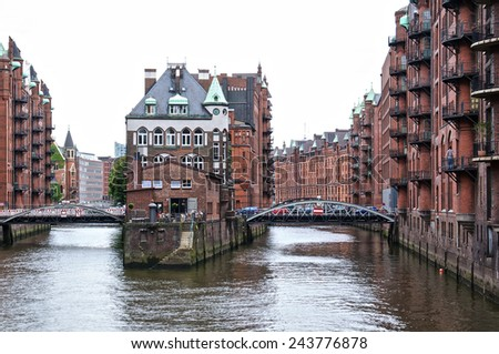 Hamburg old harbour - stock photo
