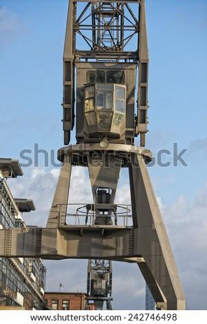 hamburg port crane cockpit detail - stock photo