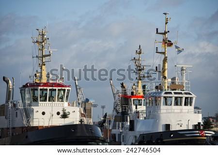 hamburg port tugboat detail close up - stock photo