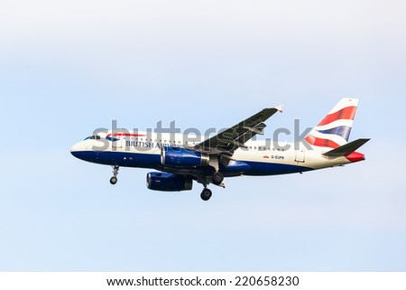 HAMBURG - SEPTEMBER 08: British Airways Airbus A320 taxiing to take-off from HAMBURG on September 08, 2014. British Airways if the flag carrier airline of the United Kingdom, operating 256 aircrafts. - stock photo
