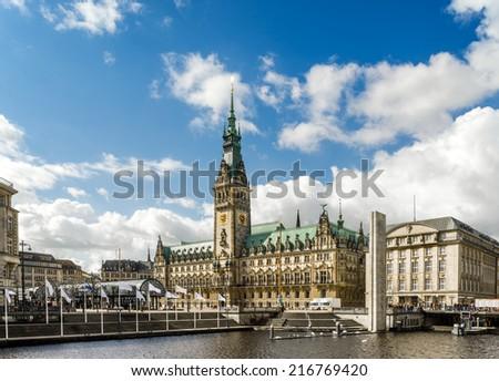 Hamburg Town Hall across the water  - stock photo