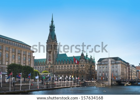 Hamburg town hall with alster - stock photo