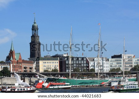 Hamburg with St. Michaelis Church and harbor