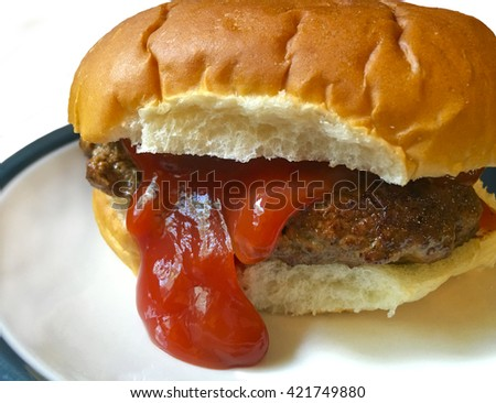 Hamburger and bun.  Looks like it is sticking it's tongue out.