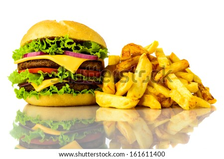 hamburger and french fries on a white background