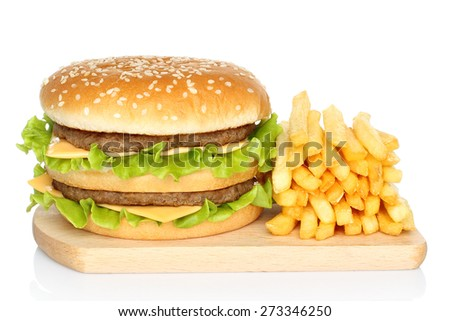 Hamburger and french fries on white background - stock photo