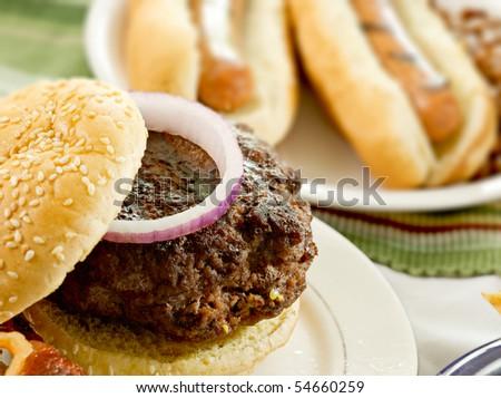 hamburger and hot dogs - stock photo