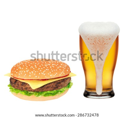 Hamburger and Mug of beer isolated on white