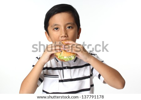Hamburger and The Boy / The boy eating a hamburger. Isolated on a white background - stock photo