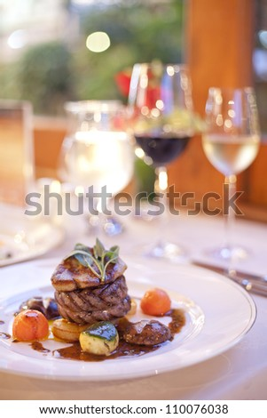 Hamburger beef steak with black pepper - stock photo