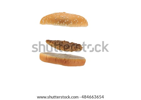 Hamburger bread and meat on white background.