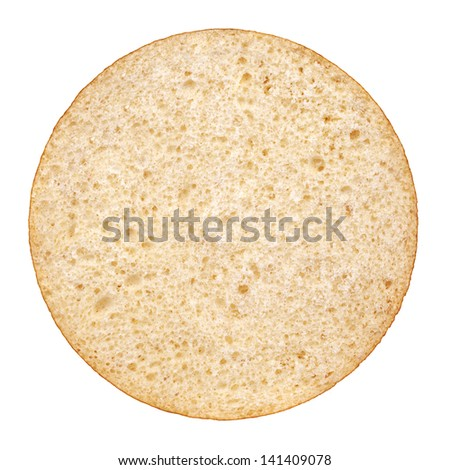 Hamburger bun on a white background. View from the top - stock photo