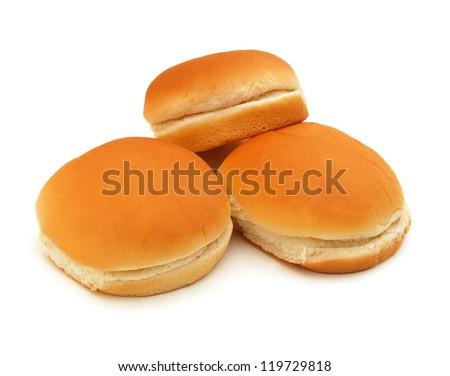 Hamburger buns isolated on white background - stock photo