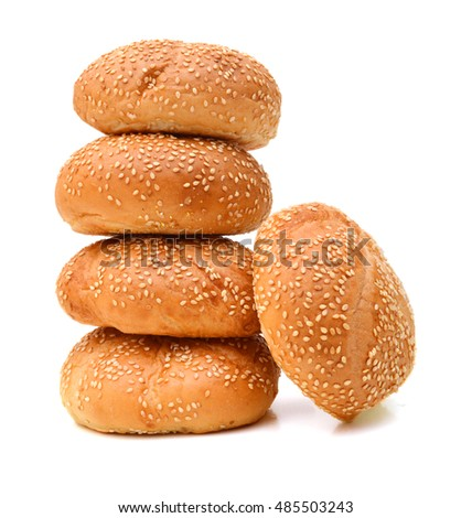 Hamburger buns on a white background