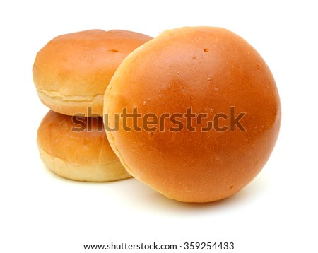 Hamburger buns on white background