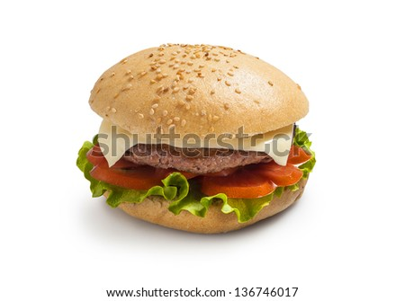 Hamburger - burger with grilled beef, cheese and vegetables