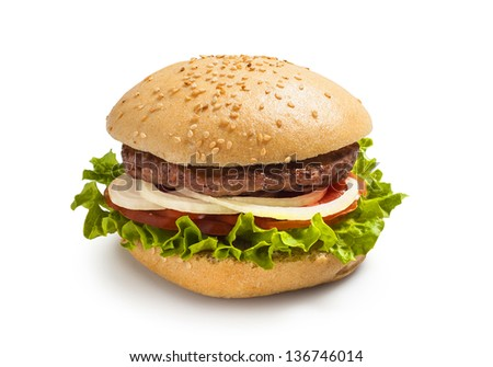 Hamburger - burger with grilled beef, cheese and vegetables and onion - stock photo