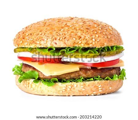 hamburger close-up isolated on white background - stock photo