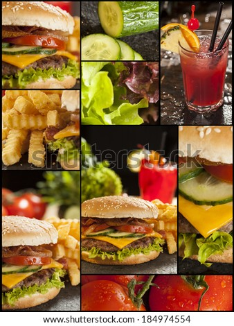 Hamburger collage - stock photo