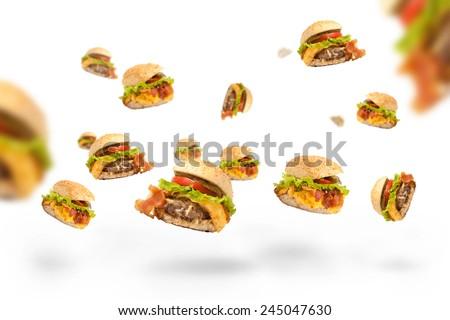 Hamburger falling. - stock photo