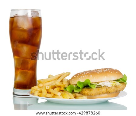 Hamburger, French fries and a glass of cola isolated on white background.