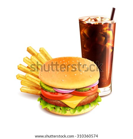 Hamburger french fries and cola realistic fast food icon isolated on white background  illustration