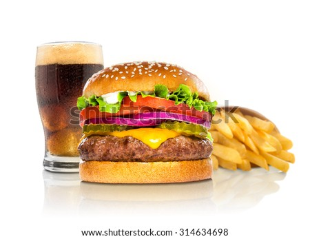 Hamburger fries and a coke soda pop cheeseburger combination deluxe fast food on white - stock photo