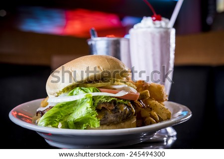 Hamburger, fries and a shake in Omaha Nebraska. - stock photo