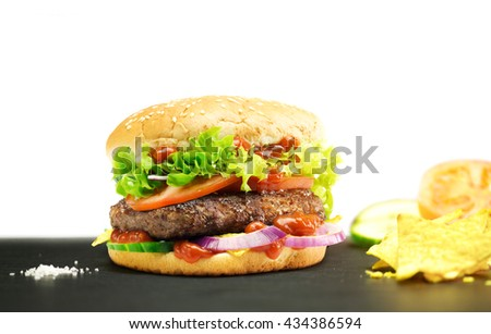 Hamburger, homemade, authentic burger with fresh vegetables