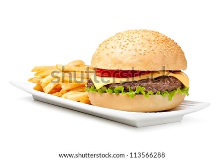 hamburger isolated on white background - stock photo