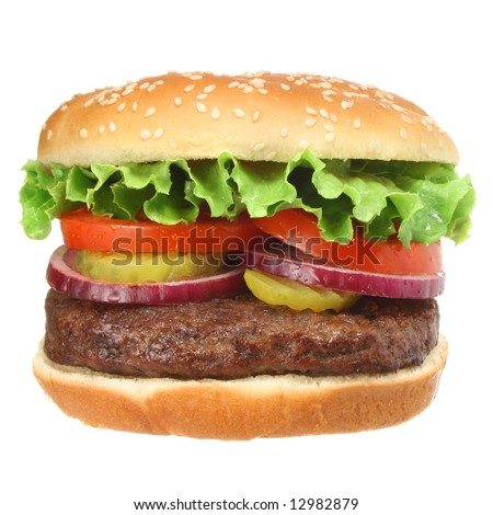 Hamburger isolated on white. Fast food & barbecue collection. - stock photo