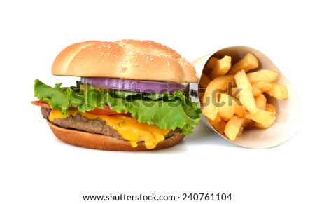 Hamburger meal served with french fries - stock photo