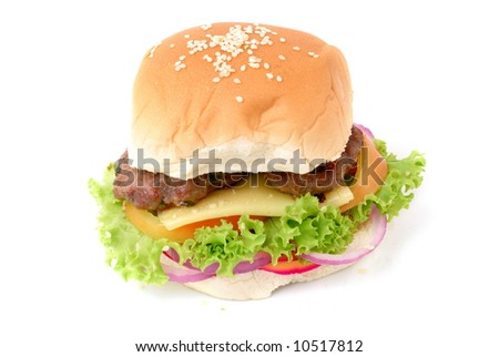 Hamburger - Meat, Bread with lettuce, tomato, onion and cheese.