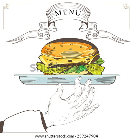 Hamburger menu design. Element for an restaurant with the hand of a waiter carrying a tray. Loaded with an Hamburger on white background. Serve food - stock photo