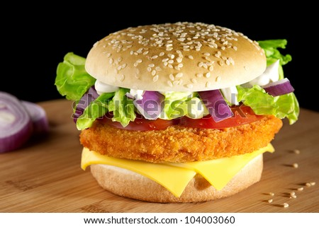 hamburger on a table - stock photo