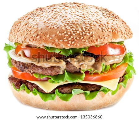 Hamburger on a white background.