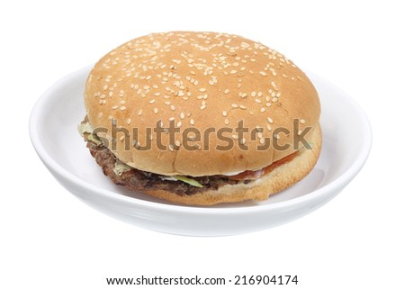 Hamburger on Plate with White Background