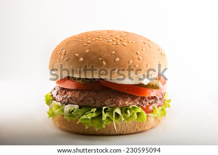 Hamburger on white table