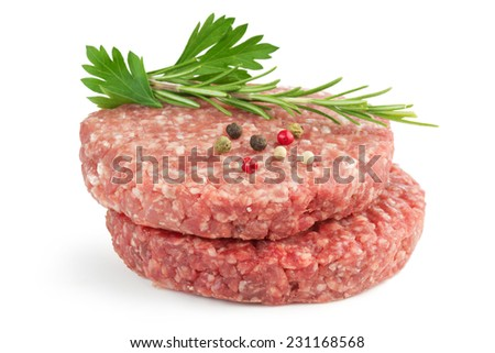 hamburger patties and aromatic herb isolated on white background - stock photo