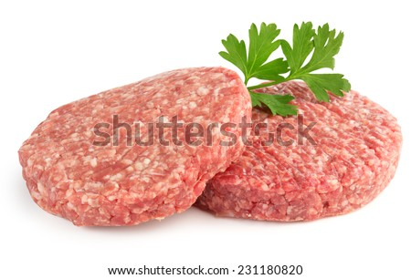 hamburger patties and parsley isolated on white background - stock photo