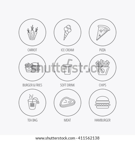 Hamburger, pizza and soft drink icons. Tea bag, meat and chips fries linear signs. Ice cream, carrot icons. Linear colored in circle edge icons.