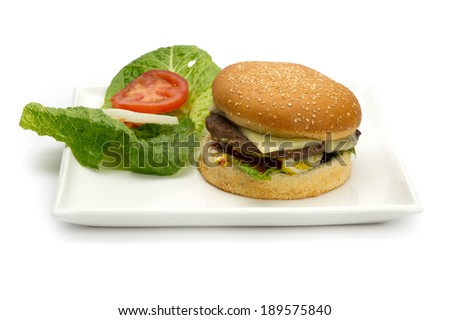 Hamburger Plate with veggies isolated on white  - stock photo