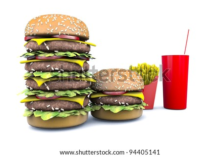 Hamburger sandwich with coke and fries on white background - stock photo