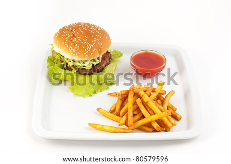 Hamburger with a potato on a white background close up
